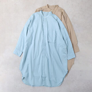 UNIVERSAL TISSU ユニヴァーサルティシュ |ナチュラルタイプライター バンドカラーロングシャツ【全2色】